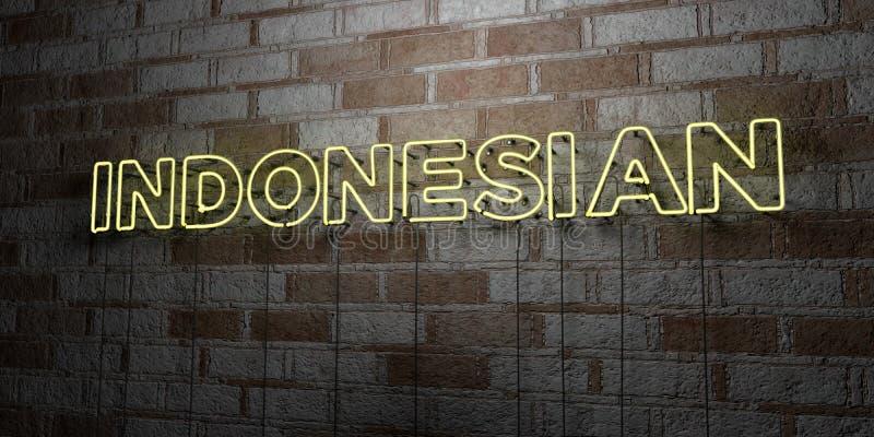 INDONESISCH - Glühende Leuchtreklame auf Steinmetzarbeitwand - 3D übertrug freie Illustration der Abgabe auf Lager lizenzfreie abbildung