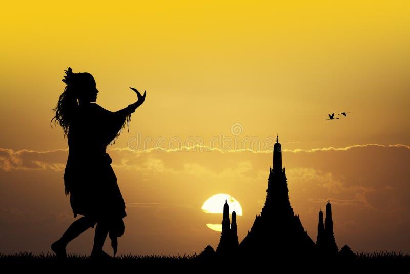 Download Indonesische Dans Bij Zonsondergang Stock Illustratie - Illustratie bestaande uit vrouw, zonsondergang: 54084637