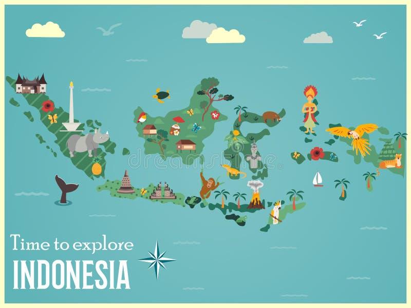 Indonesische Karte mit Tieren und Marksteinen stock abbildung