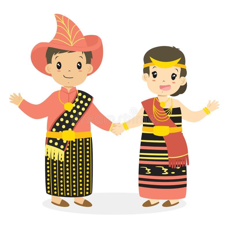 Indonesische Kinderen, Paar die Nusa Tenggara Timur dragen stock illustratie