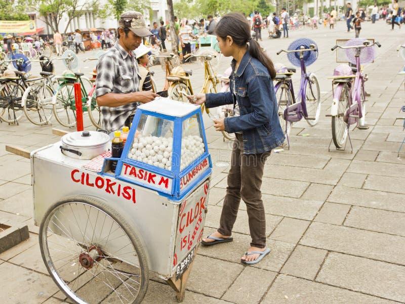 Indonesische straatventer stock fotografie
