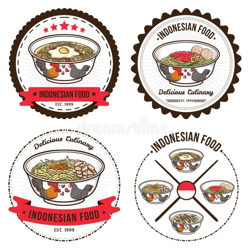 Indonesische voedselreeks kentekensontwerpsjablonen en emblemenillustraties vector illustratie