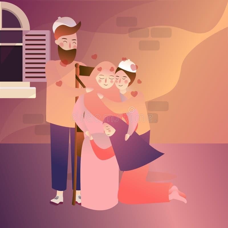 Indonesisk fader och ungar för moder för muslimfamiljförlåtelse vektor illustrationer
