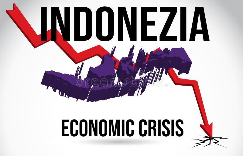 Indonezia Map Financial Crisis Economic Collapse Market Crash Global Meltdown Vector. Illustration vector illustration