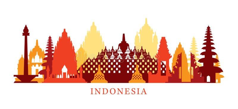 Indonezja architektury punktów zwrotnych linia horyzontu, kształt ilustracja wektor