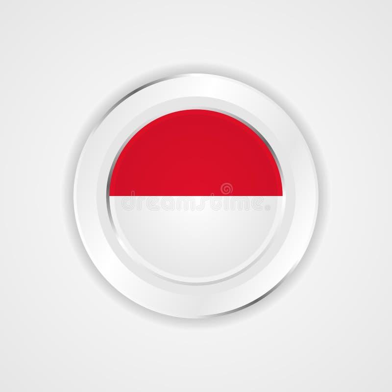 Indonezja flaga w glansowanej ikonie royalty ilustracja