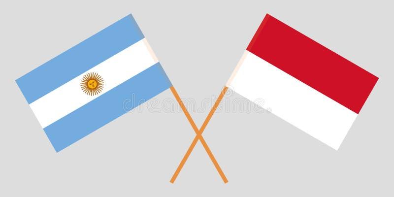 Indonezja i Argentyna Indonezyjskie i Argentinean flagi Oficjalni kolory Poprawna proporcja wektor ilustracji
