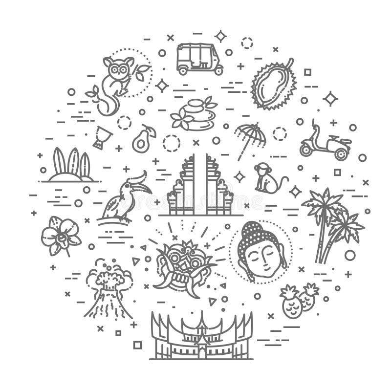 Indonezja ikony ustawia? Przyci?gania, linia projekt Turystyka w Indonezja, odosobniona wektorowa ilustracja symbole tradycyjni ilustracji
