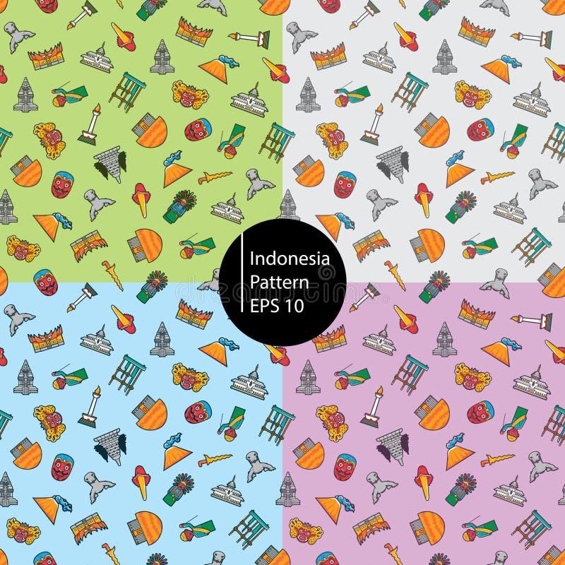 Indonezja kawaii ikony bezszwowy wzór zdjęcie royalty free