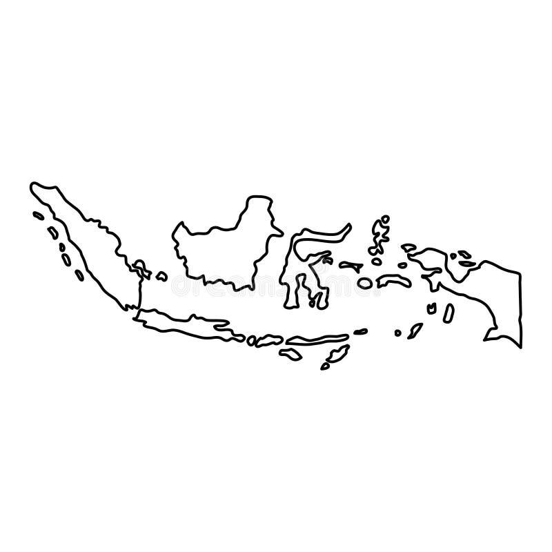 Indonezja mapa czerń kontur wygina się na białym tle vec ilustracja wektor