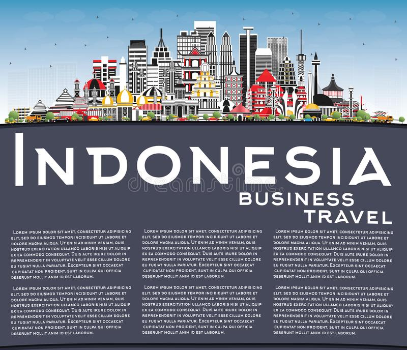 Indonezja Miasta Skyline z szarością budynków, niebieskim niebem i kopią przestrzeni ilustracji