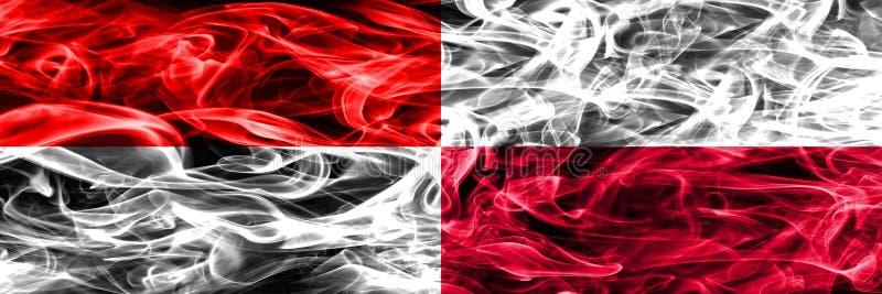 Indonezja vs Polska dymu flaga umieszczająca strona strona - obok - Gęsty kolor zdjęcia stock