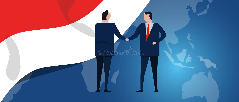 Indonezja zawody międzynarodowi partnerstwo Dyplomaci negocjacja Biznesowego związku zgody uścisk dłoni Kraj flaga i ilustracji