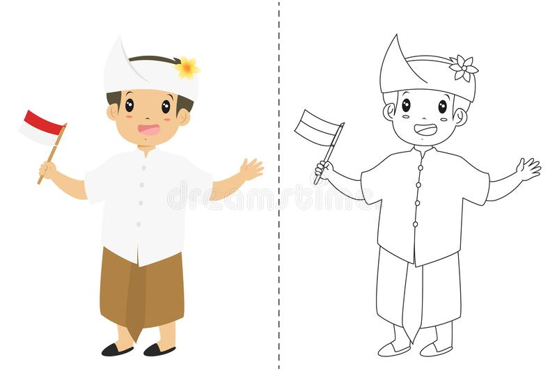 Indonezyjska chłopiec Jest ubranym Bali Tradycyjną suknię Kontur kreskówki wektor dla Barwić stronę ilustracji