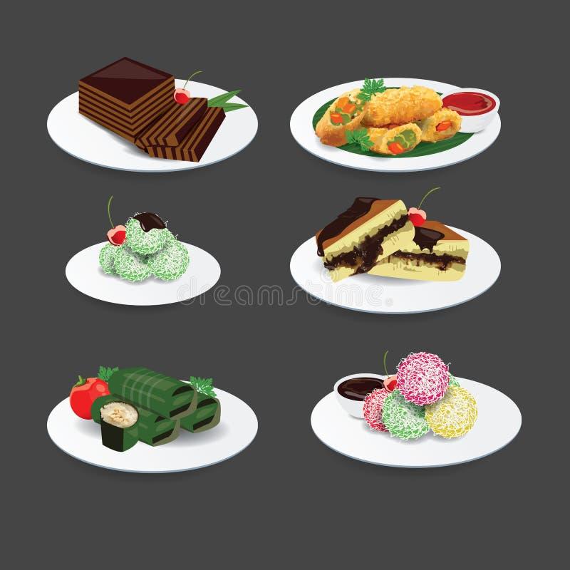 Indonezyjska kuchnia Tradycyjny jedzenie i tort ilustracja wektor