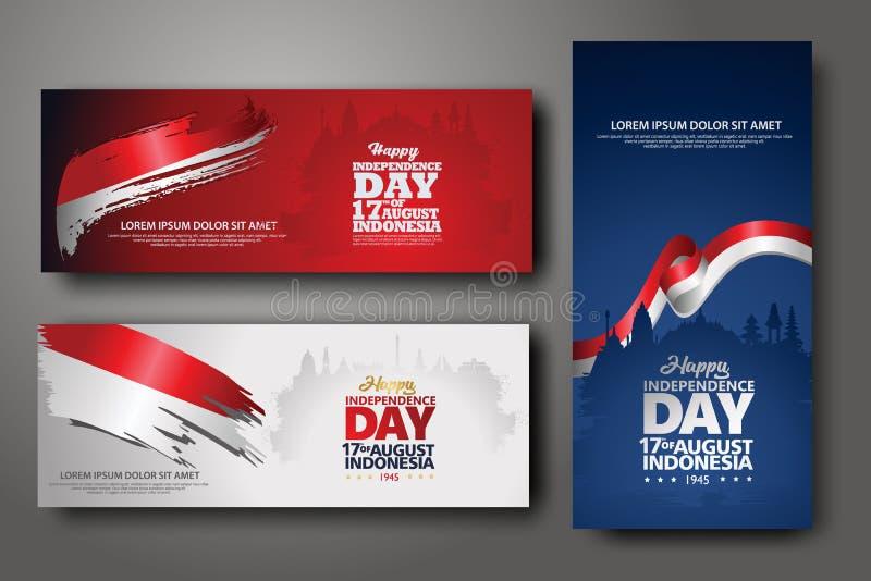 Indonezyjski dnia niepodległości świętowania sztandaru set ilustracji