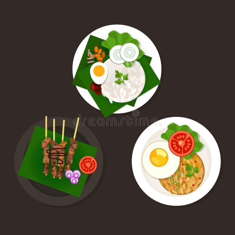 Indonezyjski malezyjski jedzenie ilustracji