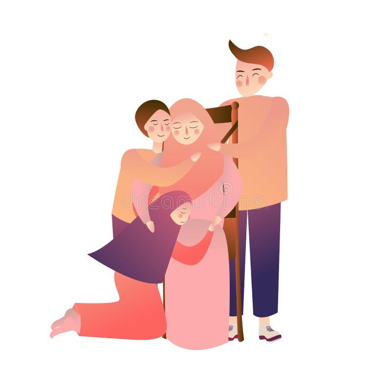 Indonezyjski muzułmański Rodzinny przebaczenie matki ojciec i dzieciaki ilustracji