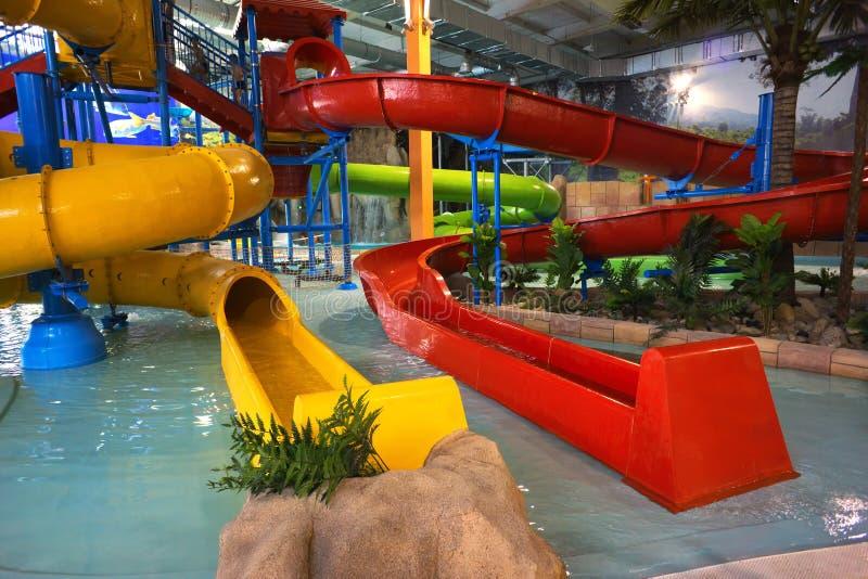 Indoor aquapark royalty free stock photography