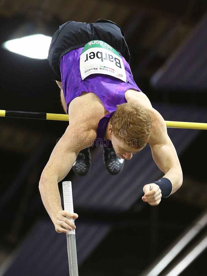 Indoor Atletics,Canadian Shawnacy Barber. Pole Vault ,World Champion stock photos