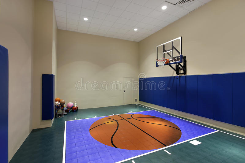 Indoor Basketball Court In Home Stock Image - Image: 15990301