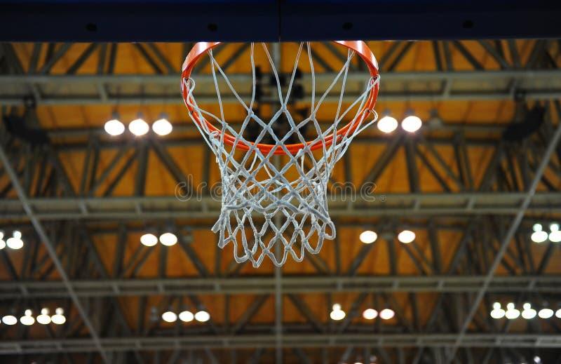 Indoor basketball hoop stock image