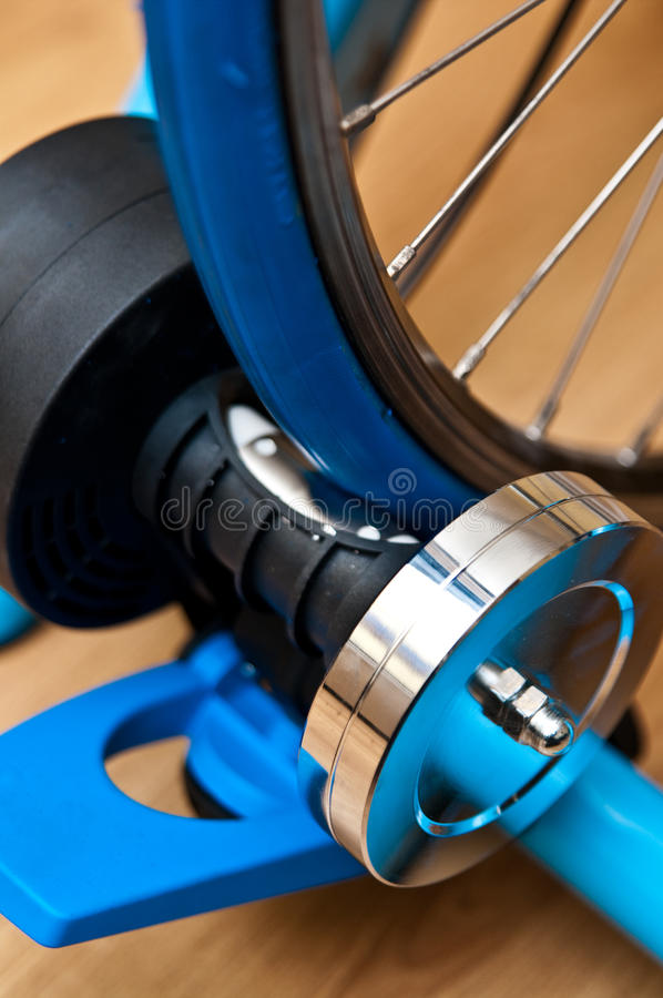 Indoor bike trainer stock photos