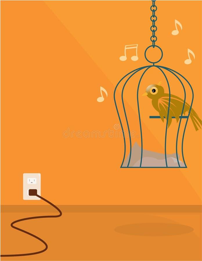 Indoor bird scene vector illustration