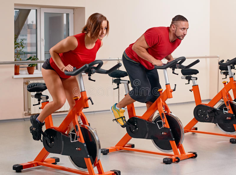Indoor Bycicle Cycling In Gym Stock Photo Image 51216389