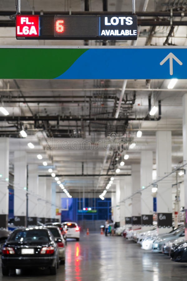 Download Indoor Cars Parking With Electronic Board Stock Photo - Image: 33061250