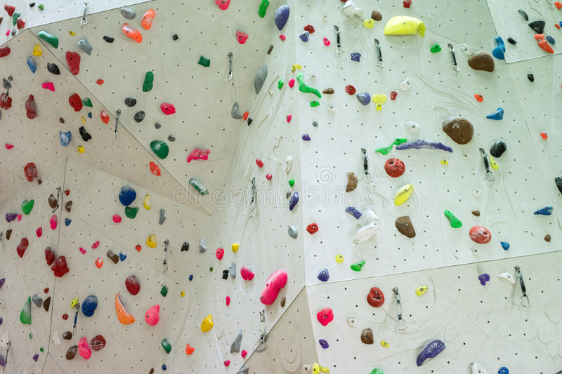 Indoor Climbing gym wall detail. Close up stock images