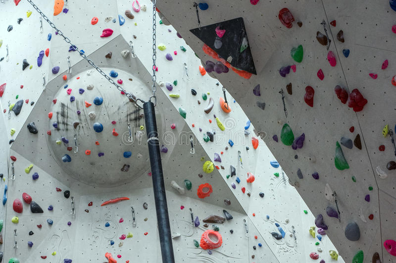 Indoor Climbing gym wall detail. Close up stock photography