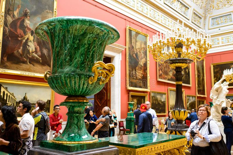 Indoor of an exhibition room in Winter Palace stock photos