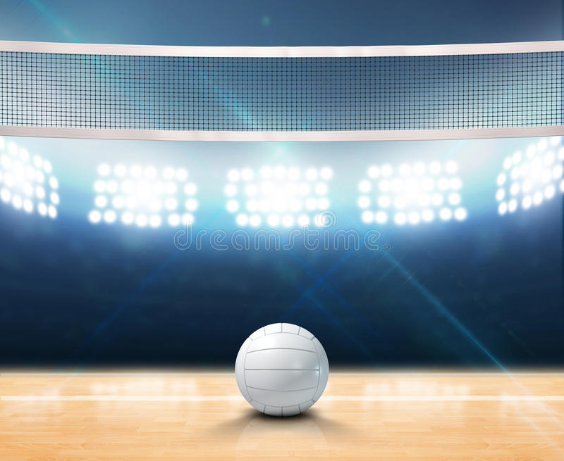 Indoor Floodlit Volleyball Court. A 3D rendering of an indoor volleyball court with a net and ball on a wooden floor under illuminated floodlights stock illustration