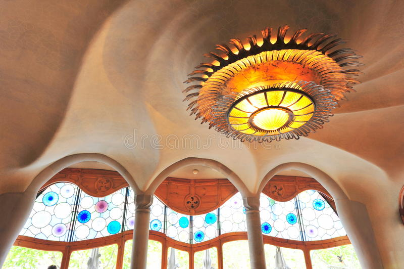 Indoor futuristic design of Casa Batllo royalty free stock photography