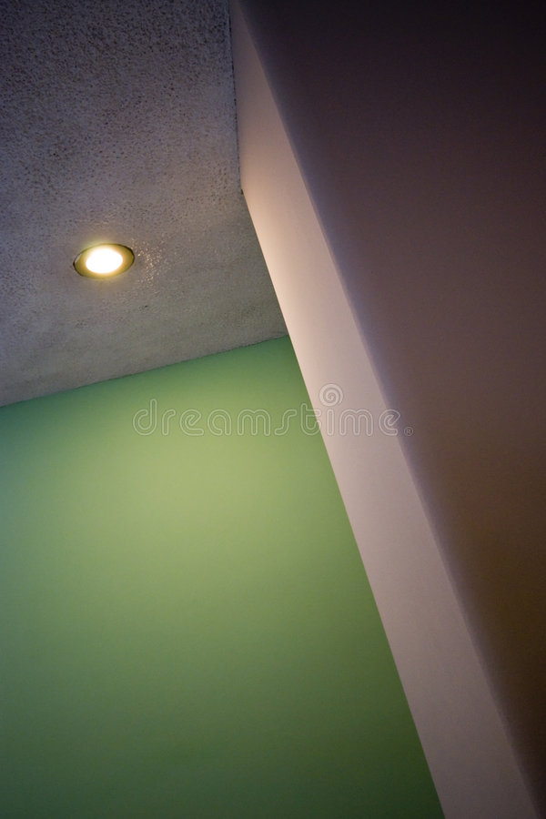 Indoor Geometries. With spot light column and green paint - Travelling USA 2007 stock photo