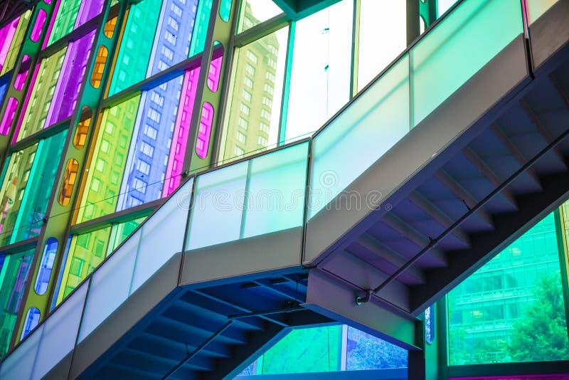 Indoor glass color at Palais des Congrès de Montréal royalty free stock images