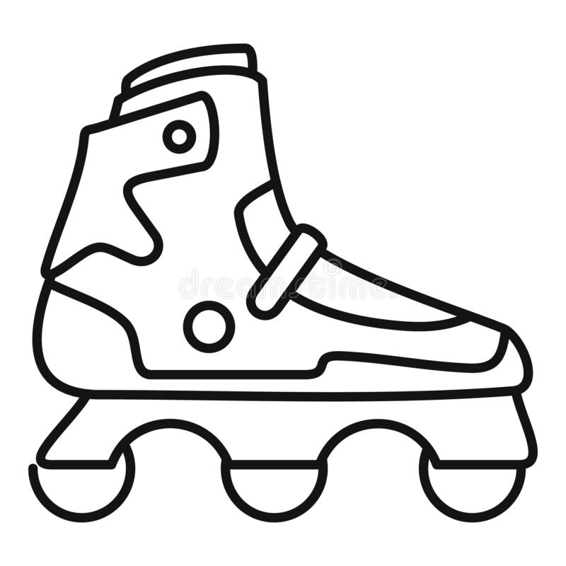 Indoor inline skates icon, outline style. Indoor inline skates icon. Outline indoor inline skates vector icon for web design isolated on white background royalty free illustration