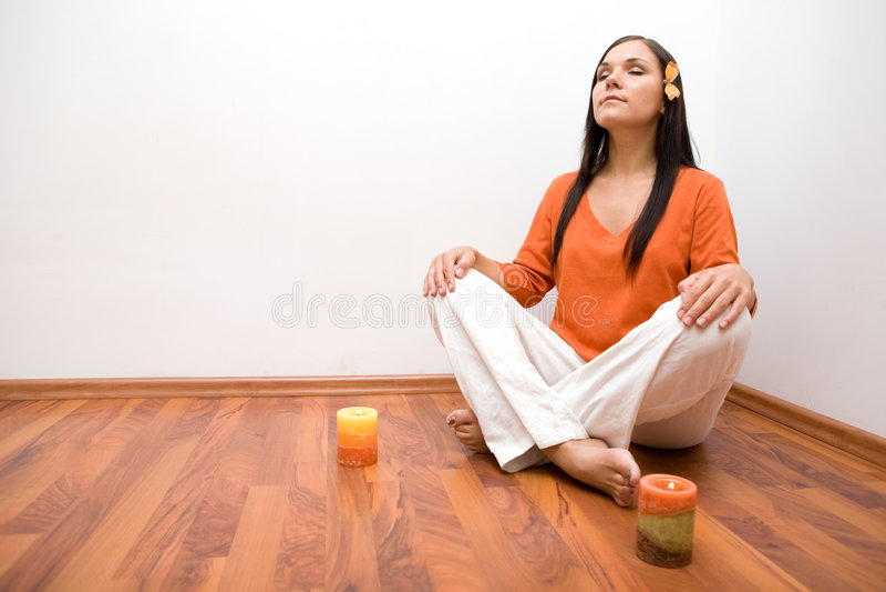 Indoor meditation stock photo