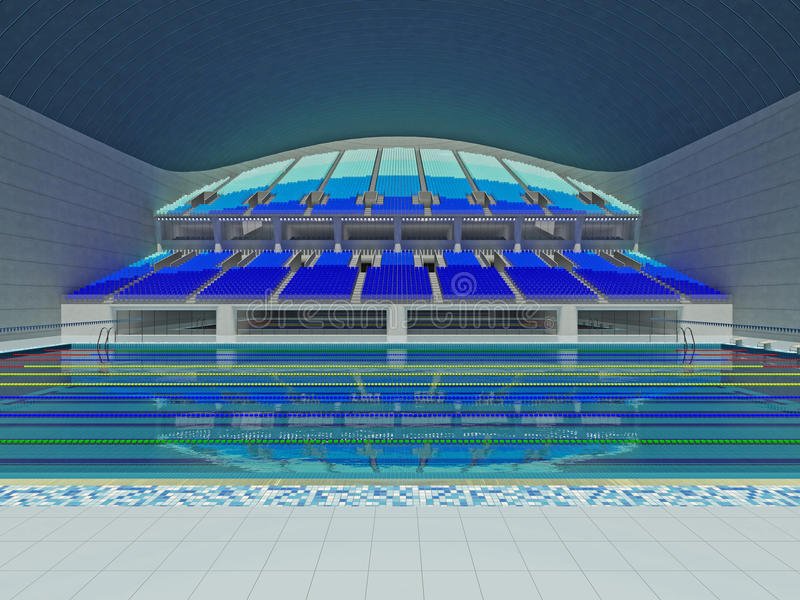 download indoor olympic size swimming pool arena with blue seats stock illustration image 95941673 - Indoor Olympic Swimming Pool