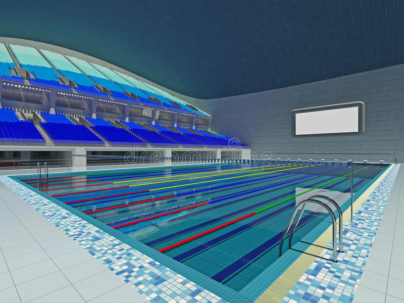Indoor Olympic Swimming Pool Arena With Blue Seats Stock Illustration Illustration Of Olympic Landmark 95941732