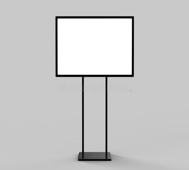 Indoor Pedestal Steel Sign Stand poster banner advertisement Display, Lobby Menu Board. Blank white 3d rendering. Indoor Pedestal Steel Sign Stand poster banner royalty free illustration