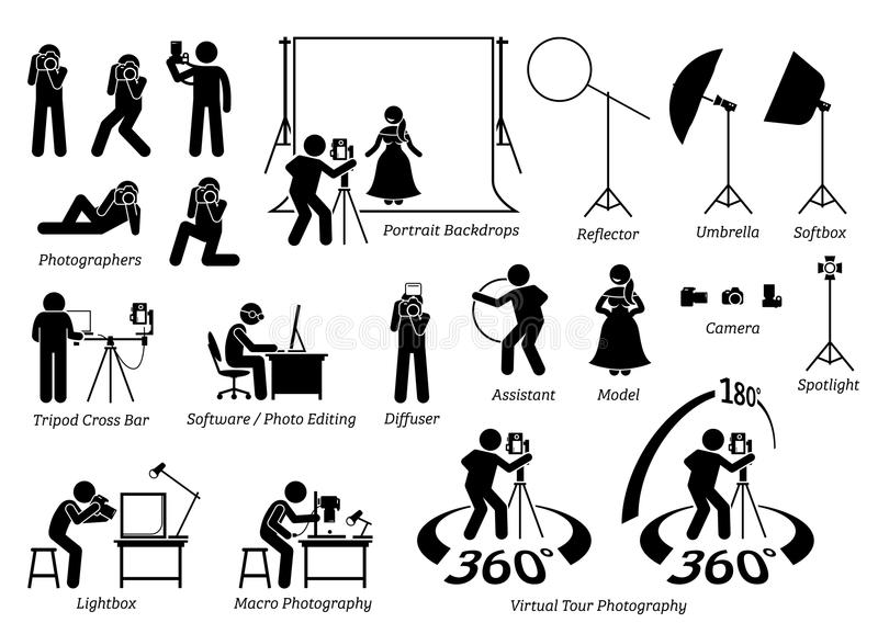 Indoor photographer photography shooting. Cameraman taking photograph in studio with various equipment, gears, and tools. This includes virtual tour photography royalty free illustration