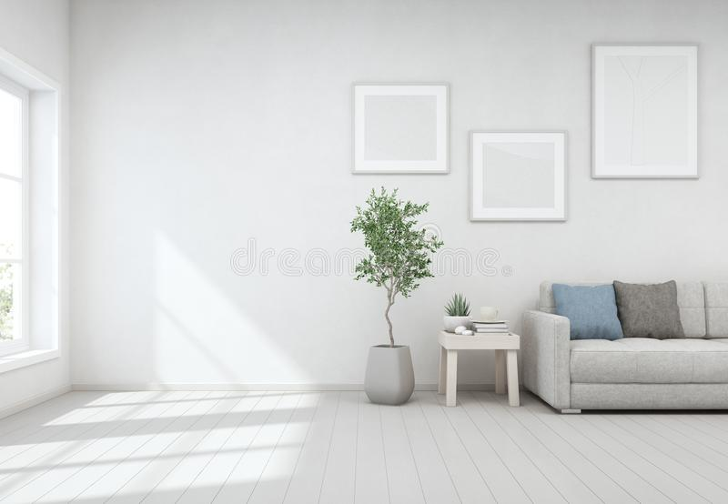 Indoor Plant And Coffee Table On Wooden Floor With White Concrete Wall Background Lounge Near