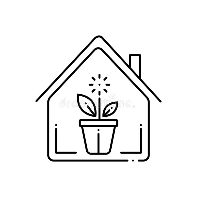 Black line icon for Indoor plants, nature and gardening royalty free illustration