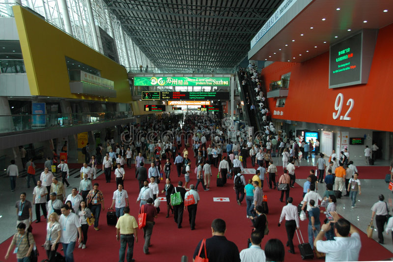 Indoor scene of Canton Fair Complex. The 105th session of China Import and Export Fair, is held in April 15th-May 7th,2009. It has 3 phases.(Phase1: April 15th royalty free stock images