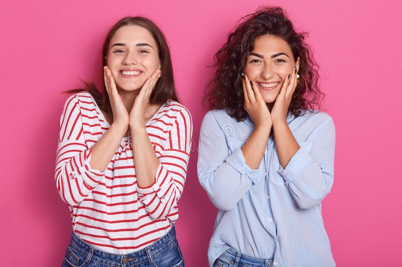 Indoor shot of cheerful beautiful young women with dark hair, looks laughing and touching her face by hand isolated over pink royalty free stock photo