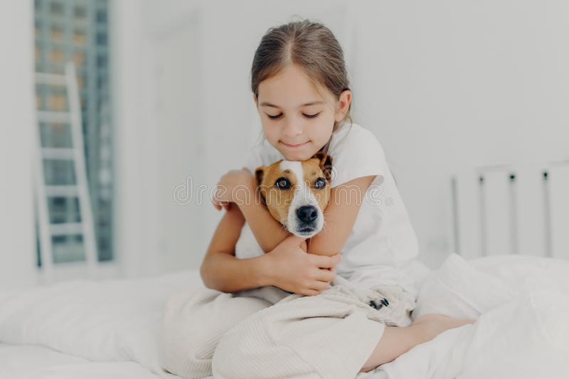 Indoor shot of happy small child embraces favourite pet, dressed in pyjamas, expresses love to her dog, plays with animal after royalty free stock images