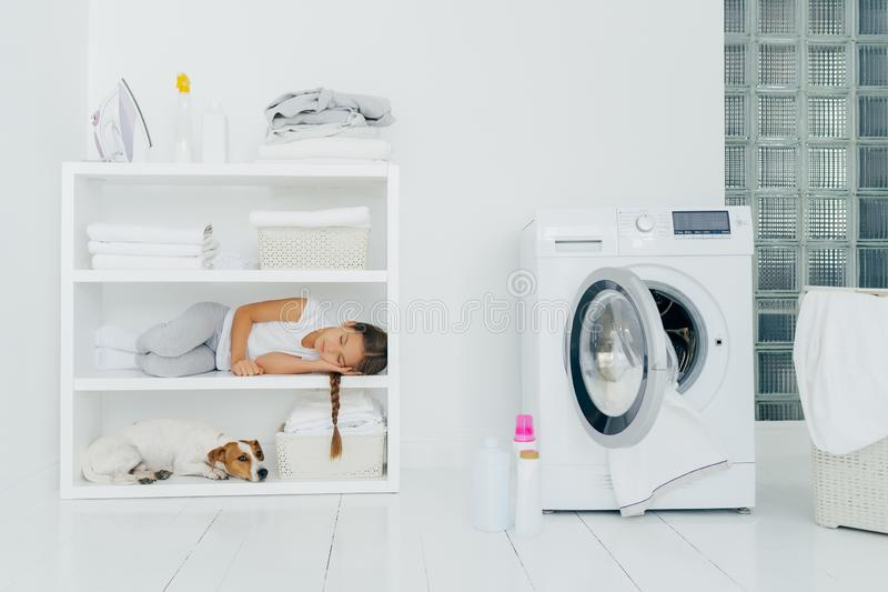 Indoor shot of little girl has sleep on console with favourite dog, has rest in laundry room with washing machine filled of linen. Bottles with detergent royalty free stock photography