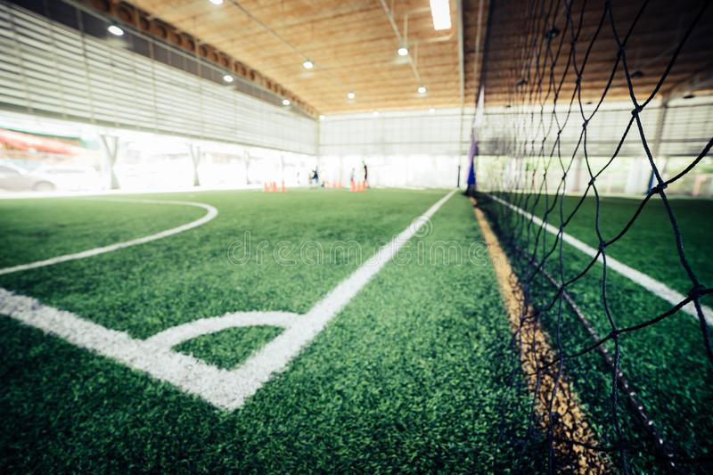 Indoor Soccer training ground for blur background. Indoor Soccer training ground for blue background royalty free stock photos